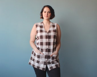plus size shirt  / sleeveless top brown and white checkers / 1980s / XL