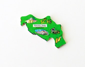 1960s Jugoslavija - Yugoslavia Brooch - Pin / Unique Wearable History Gift Idea / Upcycled Vintage Hand Cut Wood Jewelry / Gift Under 50