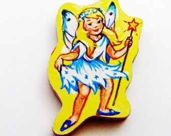 Fairy Brooch Pin / Fairy Wings, Blond Fairy, Star Wand / Upcycled 1960s Hand Cut Wood Puzzle Piece / Unique Gift Under 25