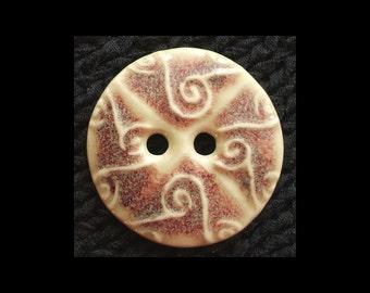 Handmade Ceramic Button: Chun Red on Cream Porcelain