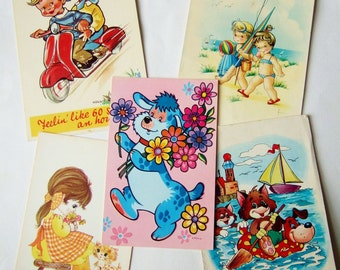 Five Cute Vintage Postcards - 1960s & 1970s Postcards for Children with Kitsch Illustrations
