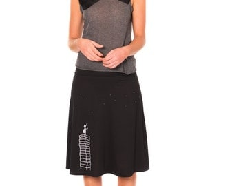 Graduation gifts, Pull on summer skirts, Black a line skirt, Black knee length jersey skirt with silver beads applique - Little girl's wish