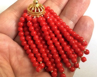 1 pc- Matte Gold plated Brass Tassel with coral red-60 mm-(008-041GP)