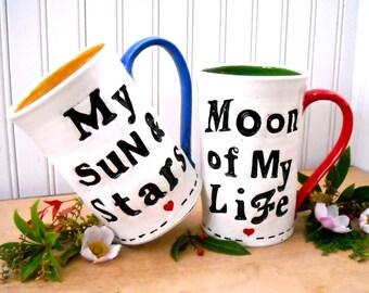 Game Of Thrones Sun and Stars Moon of My Life Mugs - HandMade Letterpress Stamped 2 Coffee Tea Cup Stein Set - Khal Drogo & Khaleesi Cosplay