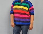 Vintage VENEZIA Sweater // Rainbow Stripe Tunic Sweater // XL XXL