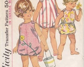 Vintage Pattern Simplicity 6036 Toddlers' Sunsuit 60s Size 1