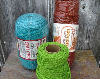 Craft Cord Destash in Turquoise Lime Green and Rust
