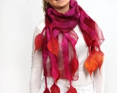 Felted scarf, scarf, felt, wrap, silk, wool, pink, red, women, gift, accesories, art, leaves