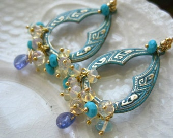 Tanzanite and Opal Chandelier Earrings