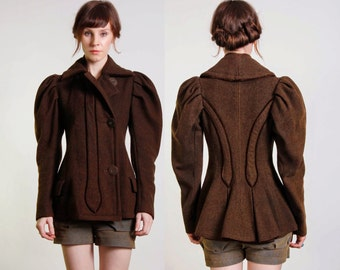 Antique Wool Coat with Puff Sleeves & Velvet Piping
