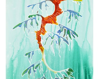 Leafy Sea Dragon Gouache / Watercolor Art Print, wildlife painting, sea life art, seahorse art, ocean decor, wall art, artwork