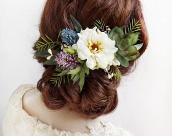 floral headpiece, bridal headpiece flower, bridal hair piece, flower hair clip, cream flower, woodland wedding, rustic hair piece, leaf hair