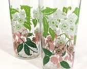 VTG. Cherry Blossoms. pink + white + green set of 2 juice glasses w/flower branches + leaves. FOUNDbyLB