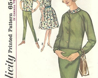 1960s Simplicity 5105 UNCUT Vintage Sewing Pattern Misses Blouse, Pencil Skirt, Full Skirt, Cropped Jacket, Slim Pants Size 12 Bust 32
