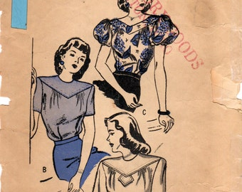 1940s Butterick 3976 Vintage Sewing Pattern Misses Blouse, Tailored Blouse Size 14 Bust 32