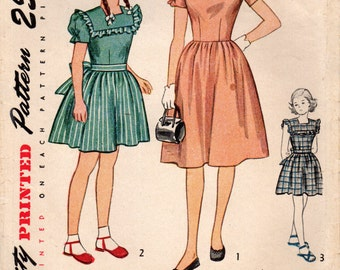 1940s Simplicity 2068 Vintage Sewing Pattern Girl's Party Dress, Dirndl Skirt Dress Size 8