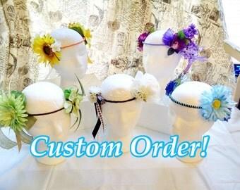 CUSTOM Flower Crown - Many Sizes & Styles!