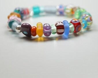 Sea Glass Bracelet // Lampwork Jewelry // Sea GLass // Colors Of Rainbow
