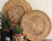 vintage natural rattan round trays