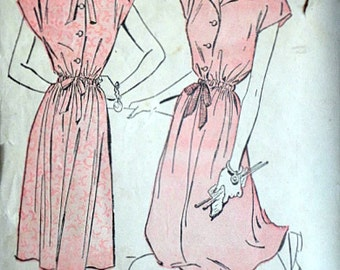 Misses' Shirtwaist Dress, Advance 4550 Vintage 40's Sewing Pattern, Size 12, 30 Bust