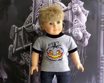 American Boy Doll Clothes Halloween Tee Shirt, 18 inch Doll Clothes Pumpkin T Shirt
