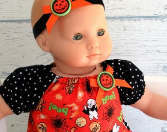 Bitty Baby Clothes Halloween Dress, Sparkle Headband, Black Orange Dress, Halloween Headband