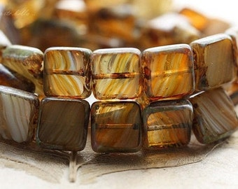 SUNLIGHT .. 15 Premium Picasso Czech Glass Square Beads 11mm (B1001-15)