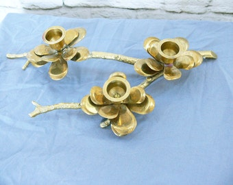 Vintage 60s Solid Brass Tree Branch Flowers Blossoms Candle Holder