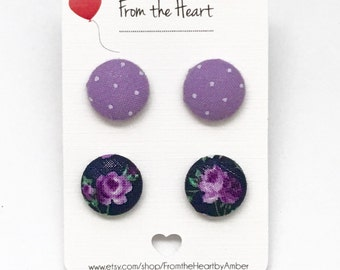 Fabric Button Earrings, Jewelry, Child Earrings, Purple, Purple Rose, Rose Earrings, Polka Dots, Stud Earrings, Post Earrings