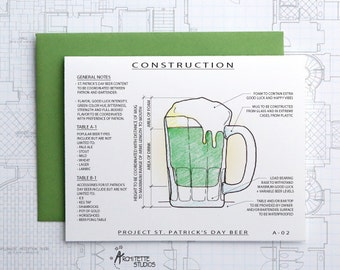 Project St Patrick's Day Beer- Good Luck Architecture Construction Card