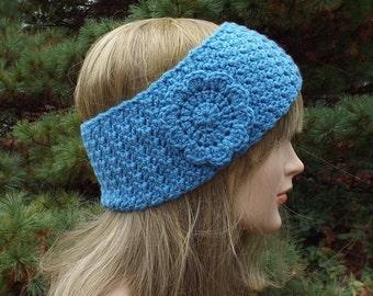 Cornflower Blue Ear Warmer, Crochet Headband with Flower, Head Wrap, Womens Ski Band, Winter Headband, Gift for Her