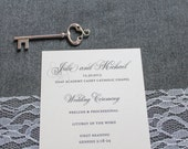 Ivory Wedding Program - Traditional Program, Classic Wedding Program, Formal Wedding Program - Custom - Julie and Michael