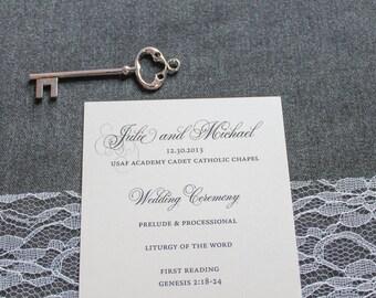 Ivory Wedding Program - Traditional Program, Classic Wedding Program, Formal Wedding Program - Custom - Julie and Michael