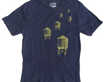 Men's NYC Water Towers Tee in Navy Blue