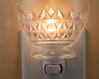 Clear Pressed Glass With Raised Diamond Pattern Custom Made Night Light