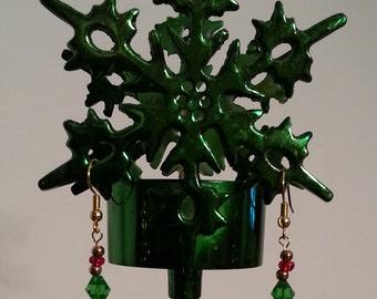 064-2 Green Christmas Earrings