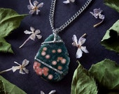 Crystal Necklace - Ocean Jasper Necklace - Pink and Green Ocean Jasper with Druzy - Mystical Amulet Necklace - Sea of Love