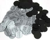 Anniversary Confetti 3/4 Inch Circles - Happy Anniversary, Black and Silver or Your Choice of Colors
