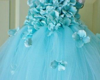 Flower girl dress Aqua Blue Dress, Blue tutu dress, flower top, hydrangea top, toddler tutu dress Cascading flowers