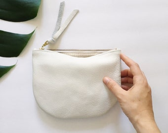 Half Circle White Leather Pouch // Geometric Clutch // Coin Purse // Gift for Her