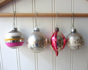 4 Shabby Vintage glass Christmas ornaments baubles Shiny Brite  European pinks and silver mercury glass Holiday B11