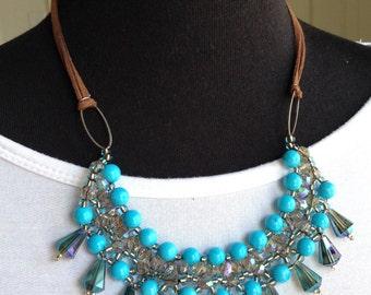 Beaded jewelry necklace, handmade turquoise necklace, turquoise statement necklace, blue necklace, statement blue necklace, one of a kind