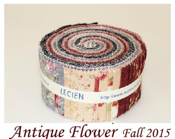 "Antique Flower Jelly Roll 2 1/2"" fabric 42-pc strips quilt fabric pack Lecien Japanese cotton Sushi Roll set 42 pieces"
