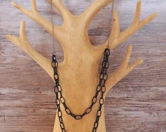 Layered Black Chain Necklace -- Coated Aluminium Links -- 2 Layers -- UK Shop