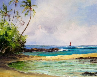 TROPICAL TRAVELS Framed Original Oil Painting Art Hawaii Tahiti South Pacific Island Tropics Ocean Lagoon Palm Trees Sailboat Sailing Sail