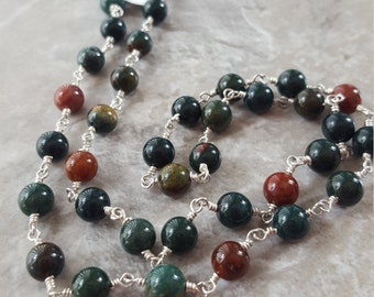 "Jasper Linked with Sterling Silver and Springring Clasp 19.5"" *Clearance* - Free Shipping"
