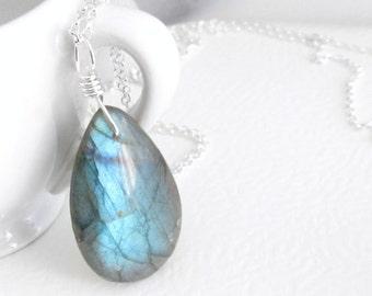 Blue Labradorite Pendant, Stone Teardrop Necklace, Sterling Silver Jewelry