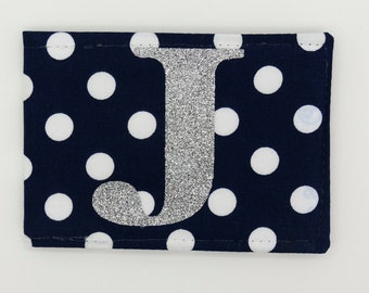 Personalised Oyster card holder, bus pass holder, travel card holder,wallet. Monogrammed navy spot fabric.Silver glitter initial.Card holder