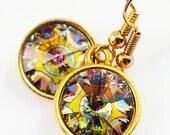 Peacock Swarovski Crystal Earring/Swarovski Rivoli Earring/Peacock Swarovski Crystal Bead/Gold Swarovski Crystal Jewelry/Pink Orange Crystal