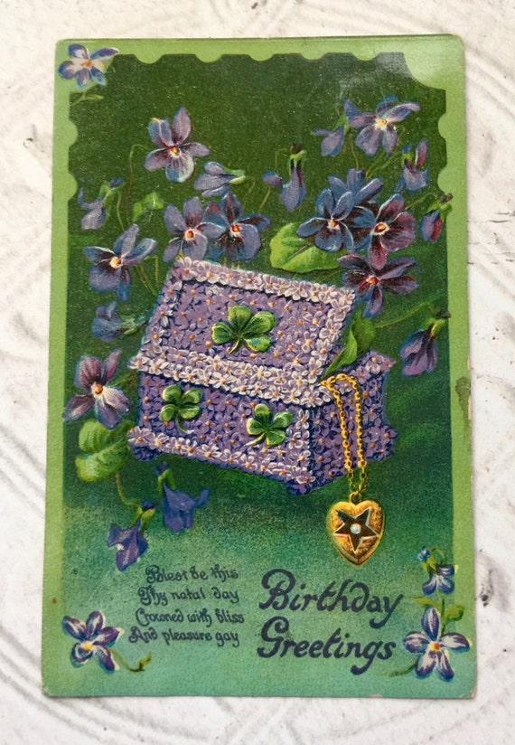 Vintage Birthday Postcard St. Patrick's Irish Themed Four Leaf Clover Green